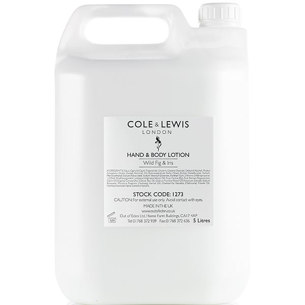 Cole and Lewis Wild Fig and Iris Hand and Body Lotion, 5 Litres