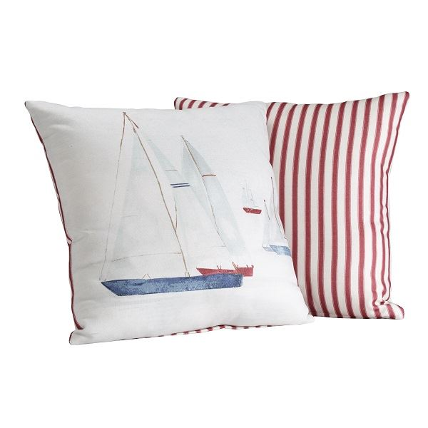 Brixham Filled Cushion Red Stripe