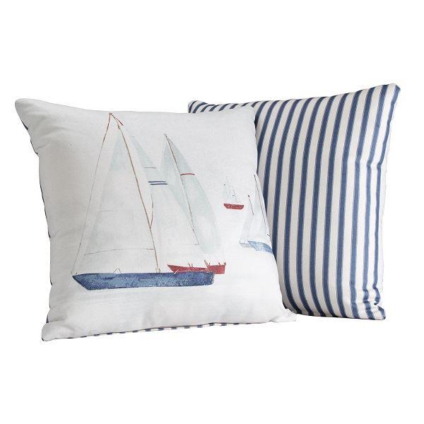 Brixham Filled Cushion Blue Stripe