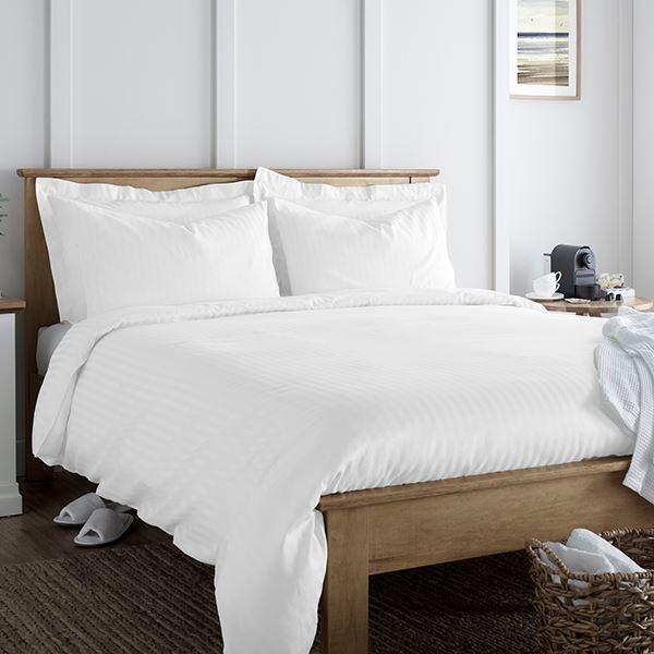 Classic Cotton Rich Satin Stripe 200TC Bed Linen White
