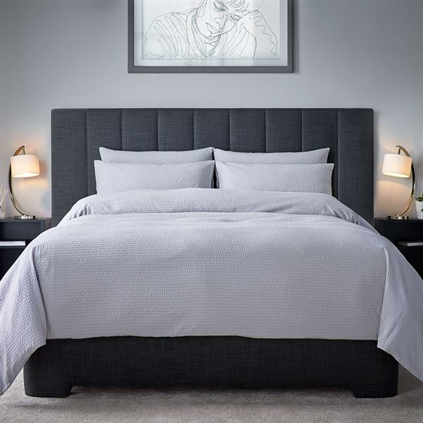 Classic Cotton Seersucker 200 Thread Count Bed Linen - White, Ivory or Grey