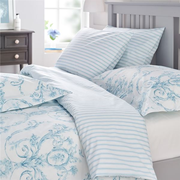 Elizabeth Bed Linen - Silver Grey, Duck Egg, Natural or Blue