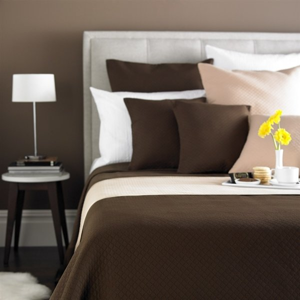 Diamond Quilted Bedspread Chocolate Double
