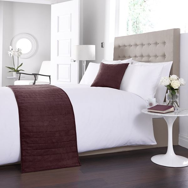 Faux Suede Bed Runner Burgundy