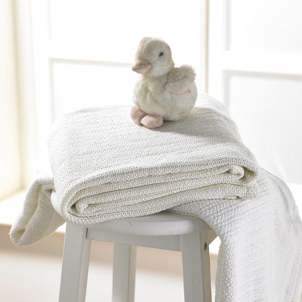 Cellular Cotton Cot Blanket 100 X 150cm Cream
