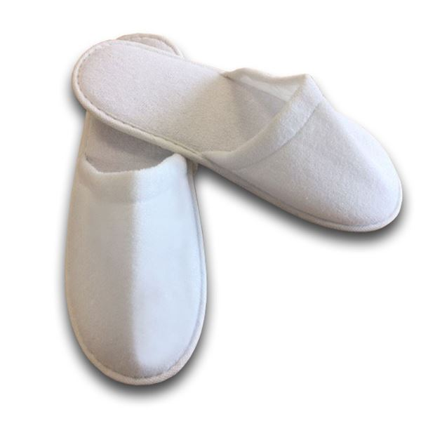 Best Value Terry Closed Toe Slipper, Pair White Pack of 100
