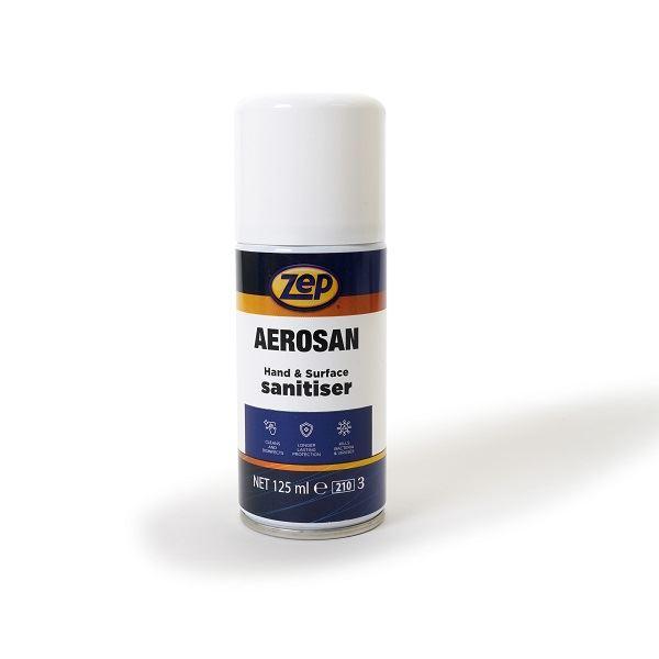 Zep Aerosan Alcohol Hand & Surface Sanitiser Spray 125ml Spray