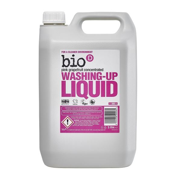 Bio D Washing Up Liquid Pink Grapefruit Refill 5 Litre Pack of 4