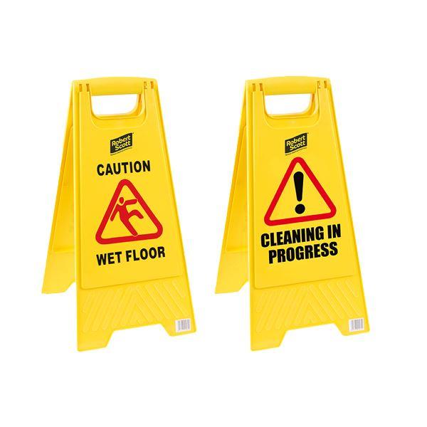 """""""Caution Wet Floor"""" / """"Cleaning In Progress"""" Freestanding Sign"""