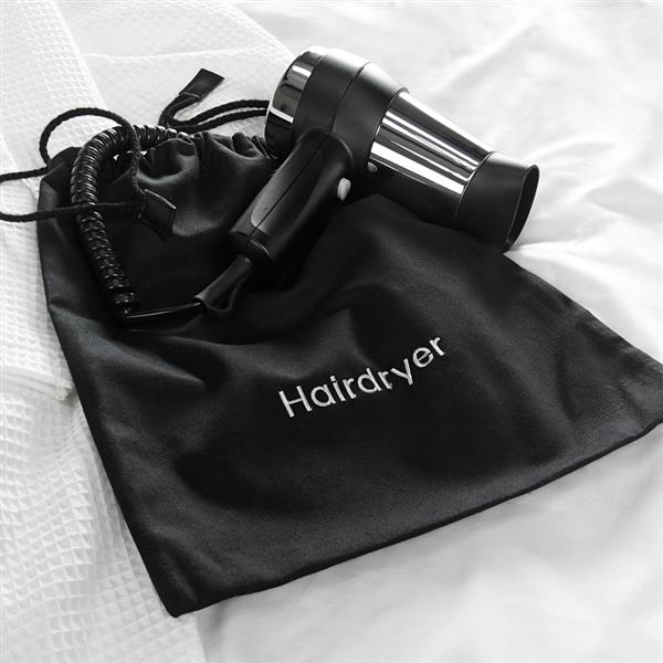 Hairdryer Bag, Black Cotton Drawstring