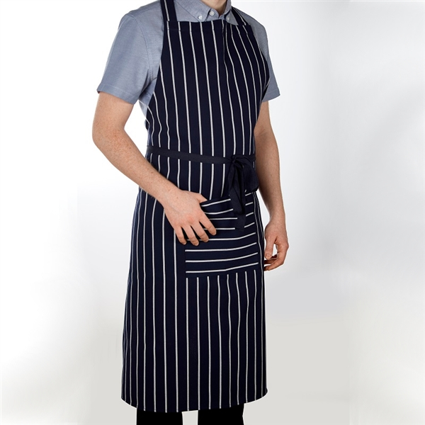 Butcher Stripe Apron With Pocket Navy