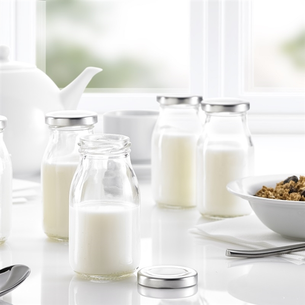 Glass Mini Milk Bottles With Lids