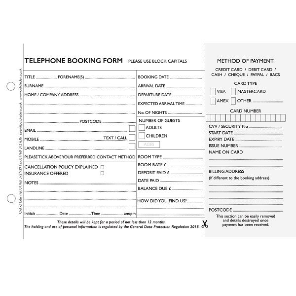 Telephone Booking Forms