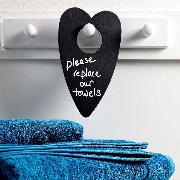 Black Wooden Heart Shaped Door Hanger Blank