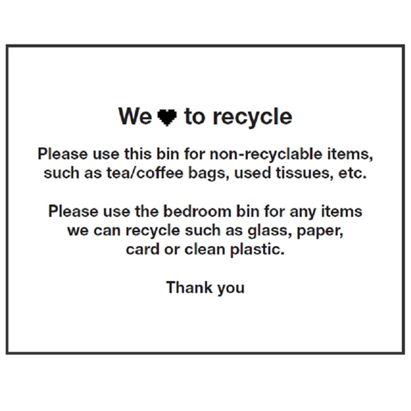 Recycling Label For Table Top Bin, 8 Per Sheet