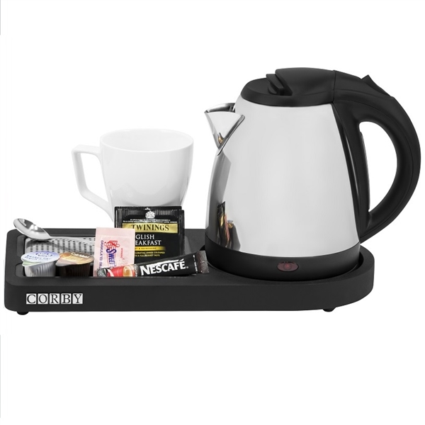 Corby Compact Welcome Tray With Kettle Black