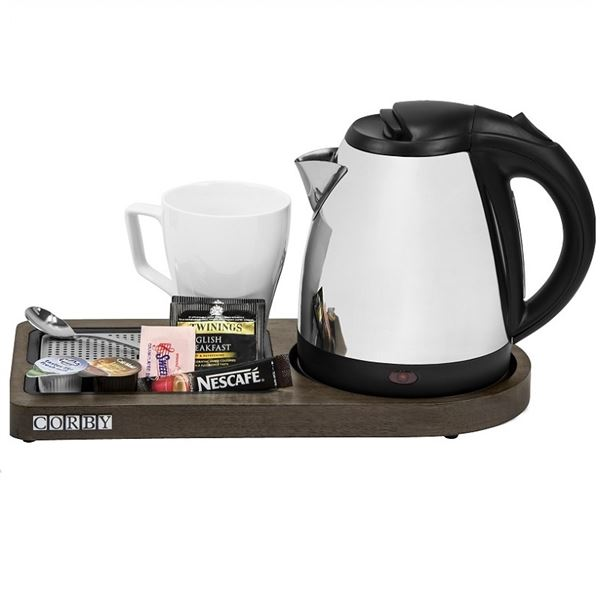 Corby Compact Welcome Tray With Kettle Walnut