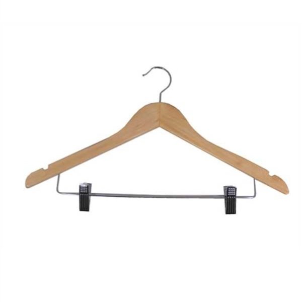 Wooden Hanger With Clips in Light or Dark Wood