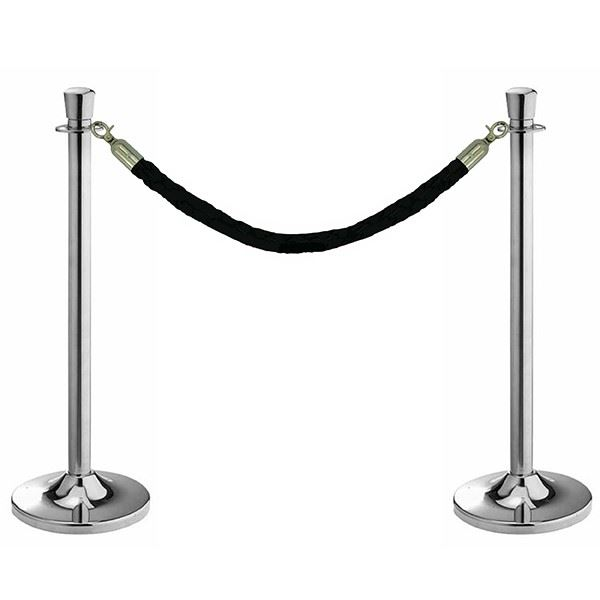 Black and Chrome Barrier Posts and Rope Set