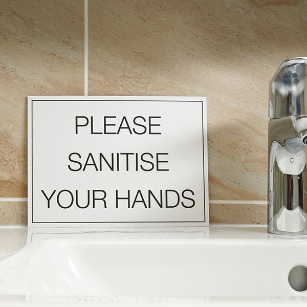 A5 Foamex Sign - Please Sanitise Your Hands - One