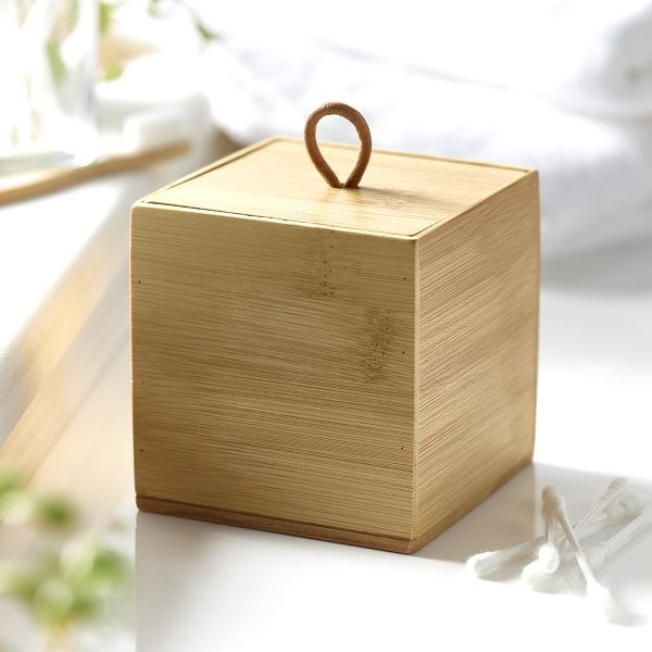 Wooden Bamboo Cube Container