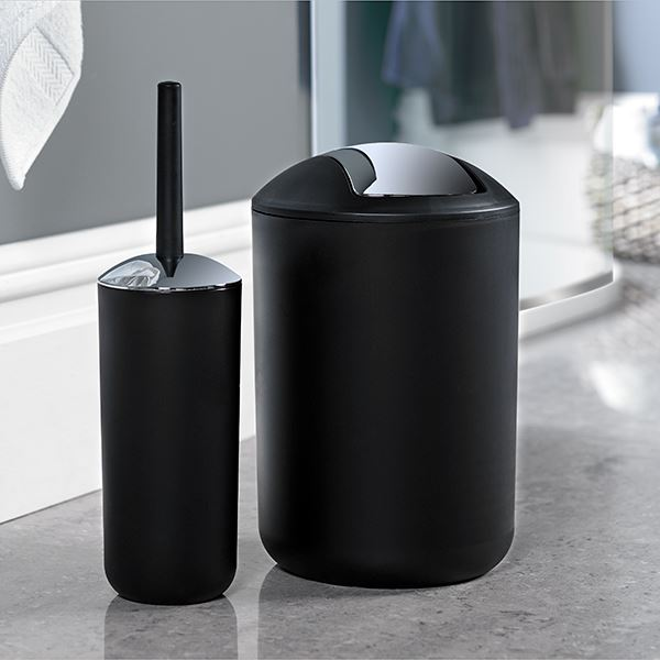 Brasil Bin & Toilet Brush Set Black