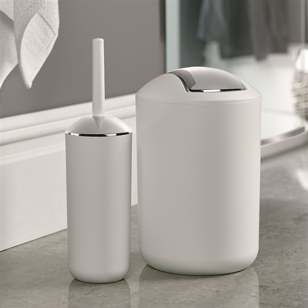 Brasil Bin & Toilet Brush Set White
