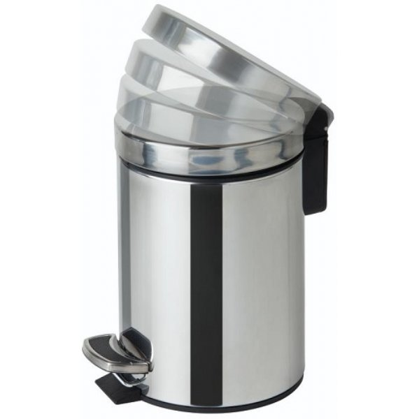 3 Litre Soft Close Pedal Bin Mirror Steel