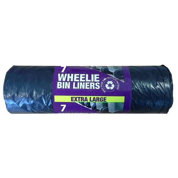 Wheelie Bin Liners, Black, 7 Per Roll
