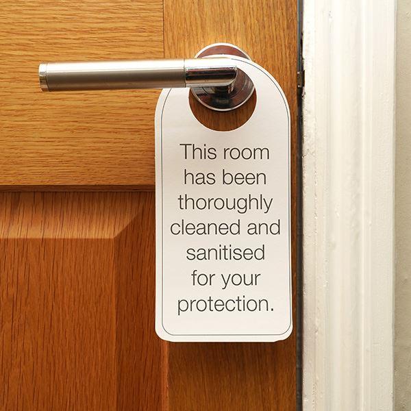 """""""This Room Has Been Sanitised"""" Door Hanger"""