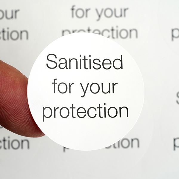 Easy to remove labels - Sanitised for your protection