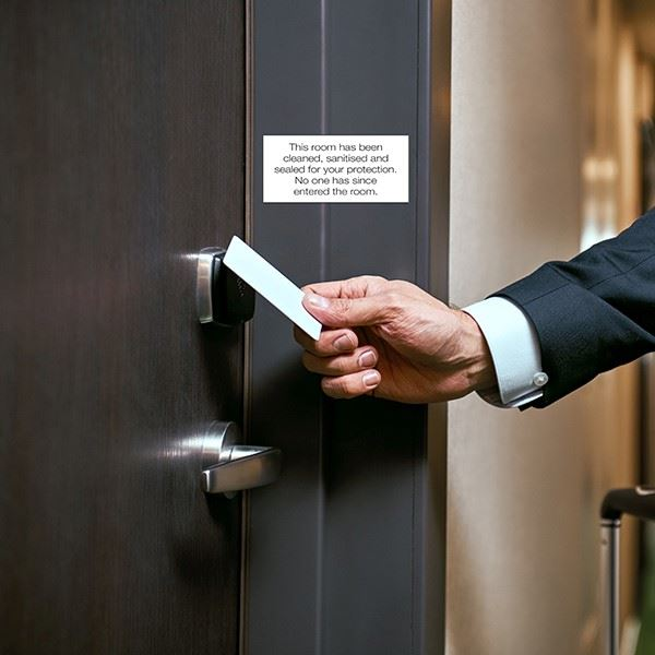 """""""This Room Has Been Sanitised & Sealed"""" Door Labels - Sheet of 10"""