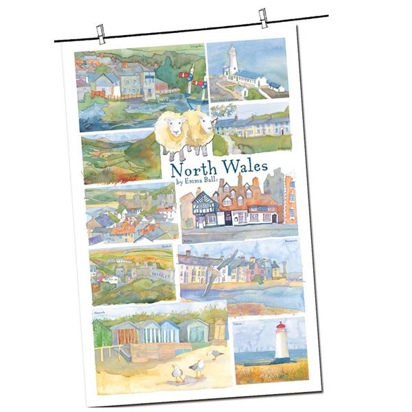 Tea Towel Emma Ball Regional Design / North Wales