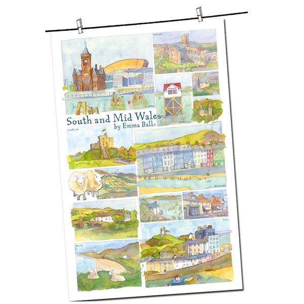Tea Towel Emma Ball Regional Design / South & Mid Wales