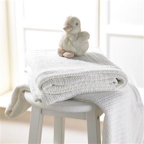 Cellular Cotton Cot Blanket 100 X 150cm White