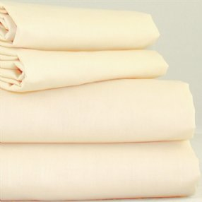 Polycotton Fitted Sheet Rich Cream Double