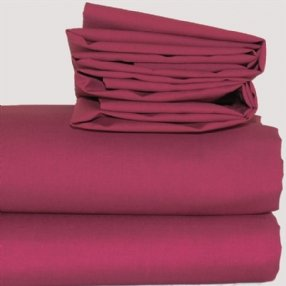 Polycotton Fitted Sheet Burgundy Single