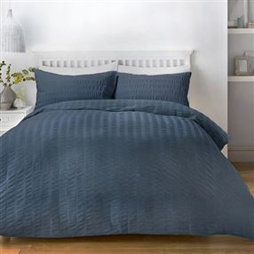 Serene Seersucker Duvet Cover Set Denim