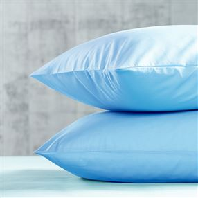 "Percale Fitted Sheet Blue Super King 6'6"" Long 10"" Deep"