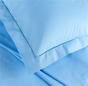 Blue Percale Fitted Sheet 14inch Drop
