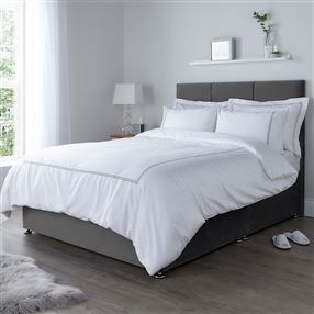 300 Thread Count Isabella Corded Duvet Cover Silver Grey
