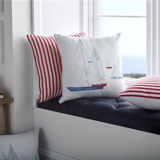 Out of Eden Brixham Filled Cushion Red Stripe