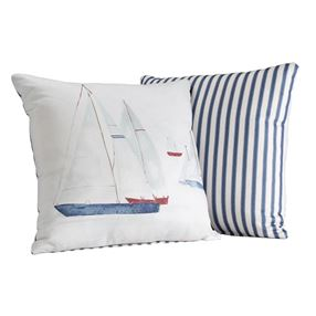 Brixham Filled Cushion Blue Stripe