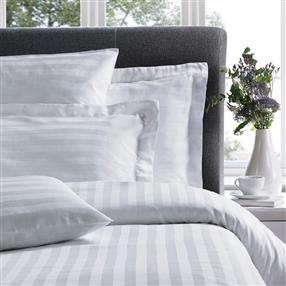 "Satin Stripe 1"" Duvet Cover Long Bag White Super King"