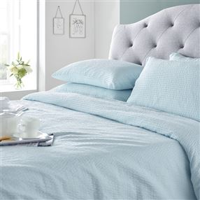 Boston Cotton Seersucker Duvet Set Duck Egg