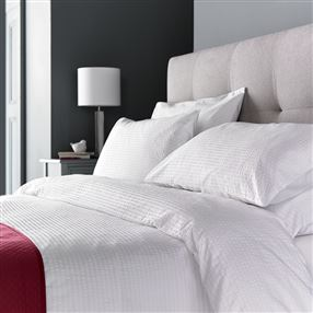 Bordalima Boston Cotton Seersucker Duvet Cover Set - White, Ivory or Grey