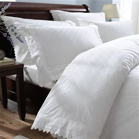 Easycare Balmoral Lace Trim Bed Linen - White or Grey