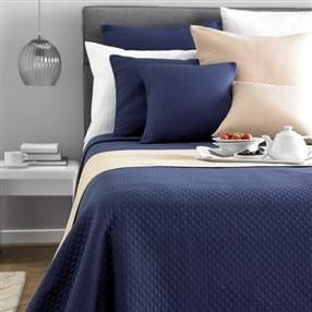 Diamond Quilted Bedspread Navy King