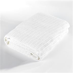 Cellular Cotton Cot Blanket White