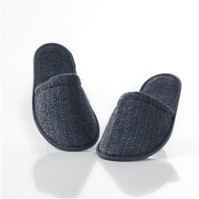 Terry Towelling Slippers, Closed Toe, Pair Anthracite One